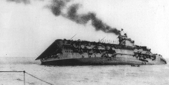 HMS Courageous (50) (British Aircraft carrier) - Ships hit by German