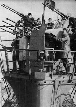 U-745 with the quadruple 2cm AA gun 38/43 U